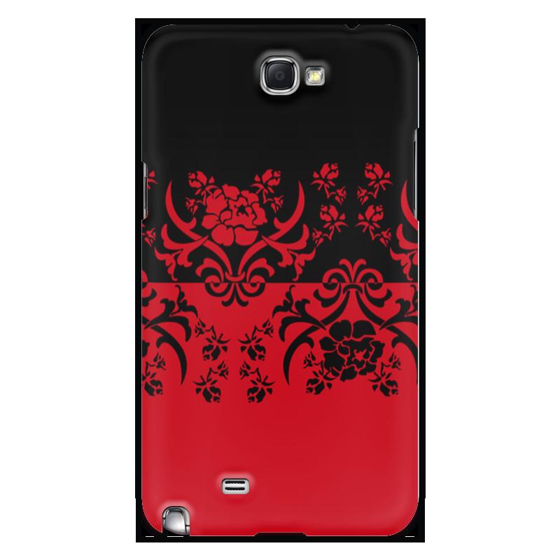 Чехол для Samsung Galaxy Note 2 Printio Красно-черное корсет с черным узором 42 44