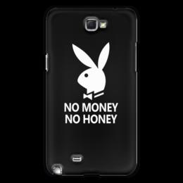 "Чехол для Samsung Galaxy Note 2 ""No money, no honey"" - юмор, playboy, креатив, кролик"