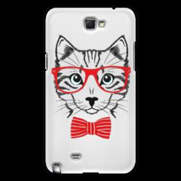 "Чехол для Samsung Galaxy Note 2 ""Кошка"" - кошка, бабочка, красный, очки, cat"