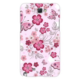 "Чехол для Samsung Galaxy Note 2 ""Бабочки"" - бабочки, цветы, розовый фон"