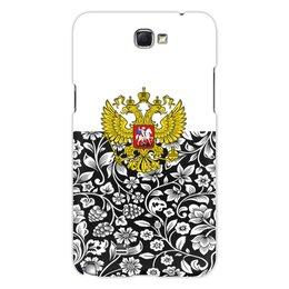 """Чехол для Samsung Galaxy Note 2 """"Цветы и герб"""" - цветы, россия, герб, орел, хохлома"""