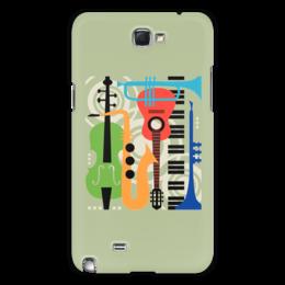 """Чехол для Samsung Galaxy Note 2 """"Музыкальные инструменты"""" - музыка, гитара, скрипка, инструменты, саксафон"""