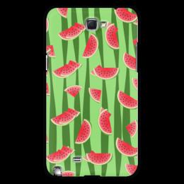 """Чехол для Samsung Galaxy Note 2 """"Арбуз"""" - полоска, красный, ягода, зеленый, семена"""
