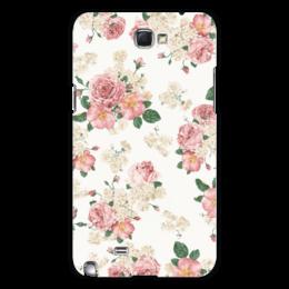 """Чехол для Samsung Galaxy Note 2 """"Цветы"""" - цветы, роза, листья, букет, шиповник"""