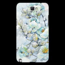 """Чехол для Samsung Galaxy Note 2 """"Белый шиповник"""" - цветок, белый, оригинальный, нежный, акварель"""
