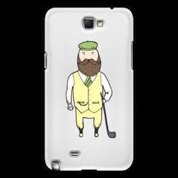 "Чехол для Samsung Galaxy Note 2 ""Джентльмен с клюшкой для гольфа"" - мяч, борода, джентльмен, гольф, клюшка"