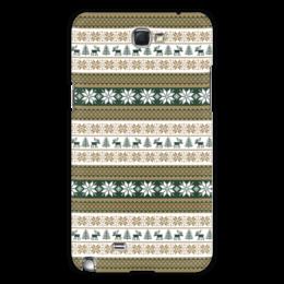 """Чехол для Samsung Galaxy Note 2 """"Скандинавский узор"""" - узор, зима, орнамент, олень, снежинка"""