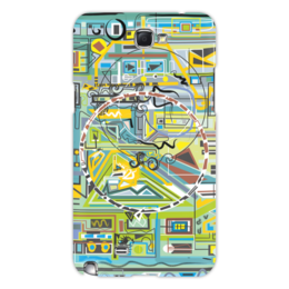 "Чехол для Samsung Galaxy Note 2 ""Березка"" - арт, абстракция, фигуры, бирюзовый"