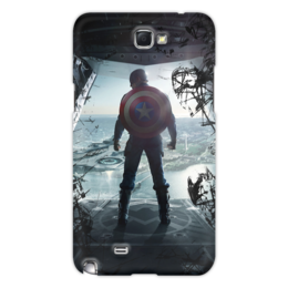"Чехол для Samsung Galaxy Note 2 ""Captain America "" - logo, comics, комиксы, герой, marvel, мстители, avengers, марвел, hero, капитан америка"