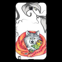 """Чехол для Samsung Galaxy Note 2 """"Волк и игрушка"""" - мультик, рисунок, животное, игрушка, волк, wolf, серый волк, одеяло"""