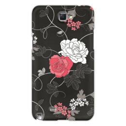 """Чехол для Samsung Galaxy Note 2 """"Красная и белая розы"""" - цветы, белое, красное, розы"""