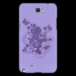 """Чехол для Samsung Galaxy Note 2 """"Сова в цветах"""" - бабочка, цветок, сиреневый, лист, сова"""