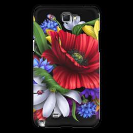 """Чехол для Samsung Galaxy Note 2 """"Композиция цветов"""" - цветы, ромашки, маки, васильки"""