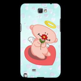 """Чехол для Samsung Galaxy Note 2 """"Влюбленный ангелок с сердцем"""" - сердце, любовь, цветок, ангел"""