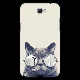 """Чехол для Samsung Galaxy Note 2 """"Funny cat"""" - кот, арт, кот в очках, прикол, котэ"""