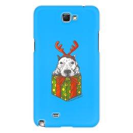 """Чехол для Samsung Galaxy Note 2 """"новый год"""" - новый год, зима, собака, подарок, год собаки"""