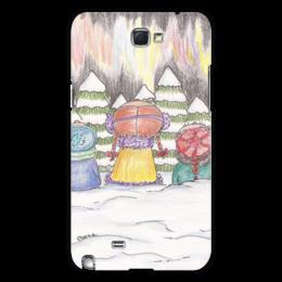 """Чехол для Samsung Galaxy Note 2 """"Северное сияние"""" - зима, дети, снег, северное сияние"""