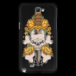 """Чехол для Samsung Galaxy Note 2 """"Череп"""" - череп, нож, оружие, паутина, цветы"""