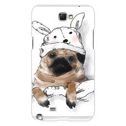 """Чехол для Samsung Galaxy Note 2 """"Мопс в шапочке"""" - заяц, пес, щенок, собака, мопс"""
