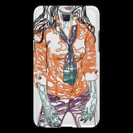 """Чехол для Samsung Galaxy Note 2 """"Шейный платок"""" - девушка, фигура, оранжевый, галстук, фиолетовый"""