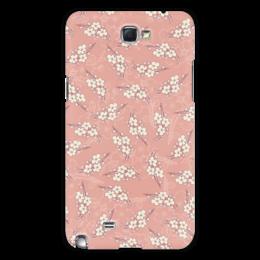 """Чехол для Samsung Galaxy Note 2 """"Цветочный принт"""" - цветы, розовый, вишня, ветка, фон"""