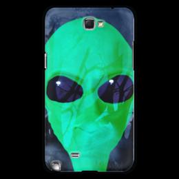 """Чехол для Samsung Galaxy Note 2 """"Деревья. Луна. Инопланетянин"""" - оригинальный, пришелец, зеленый, смешной, добрый"""