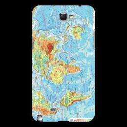 """Чехол для Samsung Galaxy Note 2 """"Карта мира"""" - мир, карта, география"""