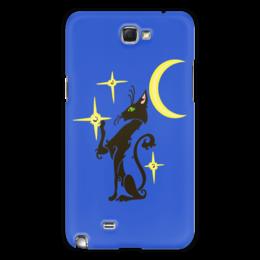 "Чехол для Samsung Galaxy Note 2 ""Ночная кошка"" - кот, кошка, звезда, cat, луна"