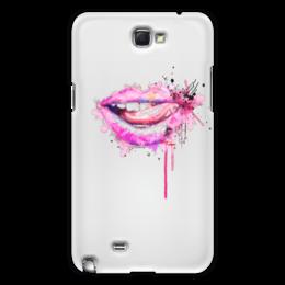 """Чехол для Samsung Galaxy Note 2 """"Губы акварель"""" - губы, язык, рот, секси, акварельный рисунок"""