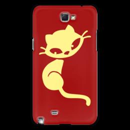 """Чехол для Samsung Galaxy Note 2 """"Кошечка"""" - кот, красный, желтый, кошечка"""