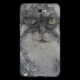 """Чехол для Samsung Galaxy Note 2 """"Манул"""" - кот, мордочка, кошки, акварель, север"""