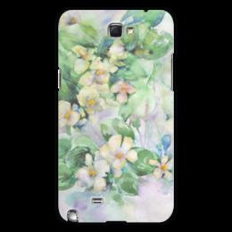 """Чехол для Samsung Galaxy Note 2 """"Жасмин"""" - цветок, акварель, нежный, оригинальный, зеленый"""