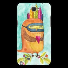 """Чехол для Samsung Galaxy Note 2 """"Рыжая Сова Индеец"""" - сердце, сова, акварель, индеец, любовь"""