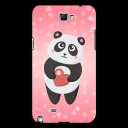 """Чехол для Samsung Galaxy Note 2 """"Панда с сердечком"""" - любовь, панда, розовый, сердечки"""