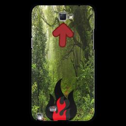 """Чехол для Samsung Galaxy Note 2 """"Осторожность с огнем"""" - стиль, лес, костер"""