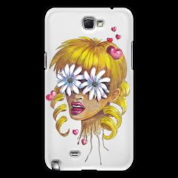 """Чехол для Samsung Galaxy Note 2 """"Без ума от цветов"""" - любовь, девушка, цветы, сердца, блондинка"""