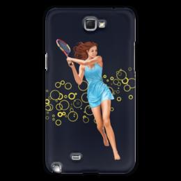 """Чехол для Samsung Galaxy Note 2 """"Девушка с теннисной ракеткой"""" - девушка, спорт, рисунок, теннис, ракетка"""