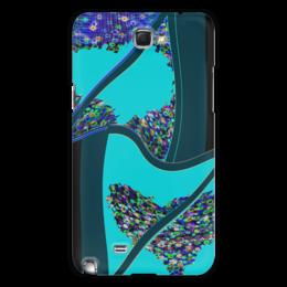 """Чехол для Samsung Galaxy Note 2 """"Инверсия сердца"""" - сердце, сердца, голубой, синий, линия"""