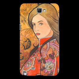 """Чехол для Samsung Galaxy Note 2 """"Русский стиль"""" - арт, девушка, красный, хохлома, золотой"""