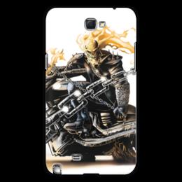 """Чехол для Samsung Galaxy Note 2 """"Скелет"""" - череп, скелет, огонь, мотоцикл, гонщик"""