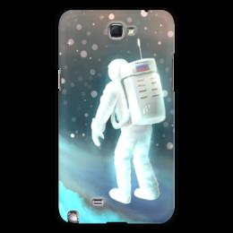 """Чехол для Samsung Galaxy Note 2 """"Космический путешественник"""" - звезды, рисунок, космос, космонавт"""