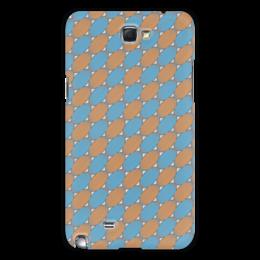 """Чехол для Samsung Galaxy Note 2 """"Овальный узор"""" - серый, голубой, рыжий, линии, овал"""