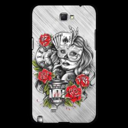 """Чехол для Samsung Galaxy Note 2 """"Девушка"""" - девушка, карты, часы, маска, розы"""