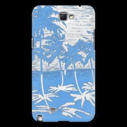 """Чехол для Samsung Galaxy Note 2 """"Пальмы"""" - небо, отражение, вода, пальмы"""