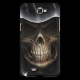 """Чехол для Samsung Galaxy Note 2 """"Череп в капюшоне"""" - череп, кости, смерть, зубы"""