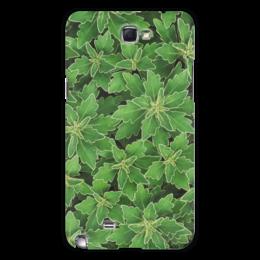 """Чехол для Samsung Galaxy Note 2 """"Зеленые листья"""" - растение, белый, листья, зеленый, окантовка"""