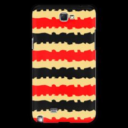 """Чехол для Samsung Galaxy Note 2 """"Полоски с рванными краями"""" - полоска, черный, красный, бежевый, рванный"""
