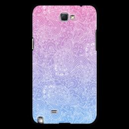 """Чехол для Samsung Galaxy Note 2 """"Градиентный узор"""" - узор, голубой, розовый, дудл, градиент"""