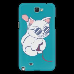 "Чехол для Samsung Galaxy Note 2 ""Котенок с клубком"" - кот, кошка, котенок, очки, клубок"