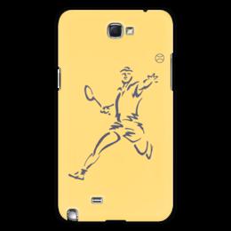 """Чехол для Samsung Galaxy Note 2 """"Большой теннис"""" - спорт, спортсмен, ракетка, мяч"""